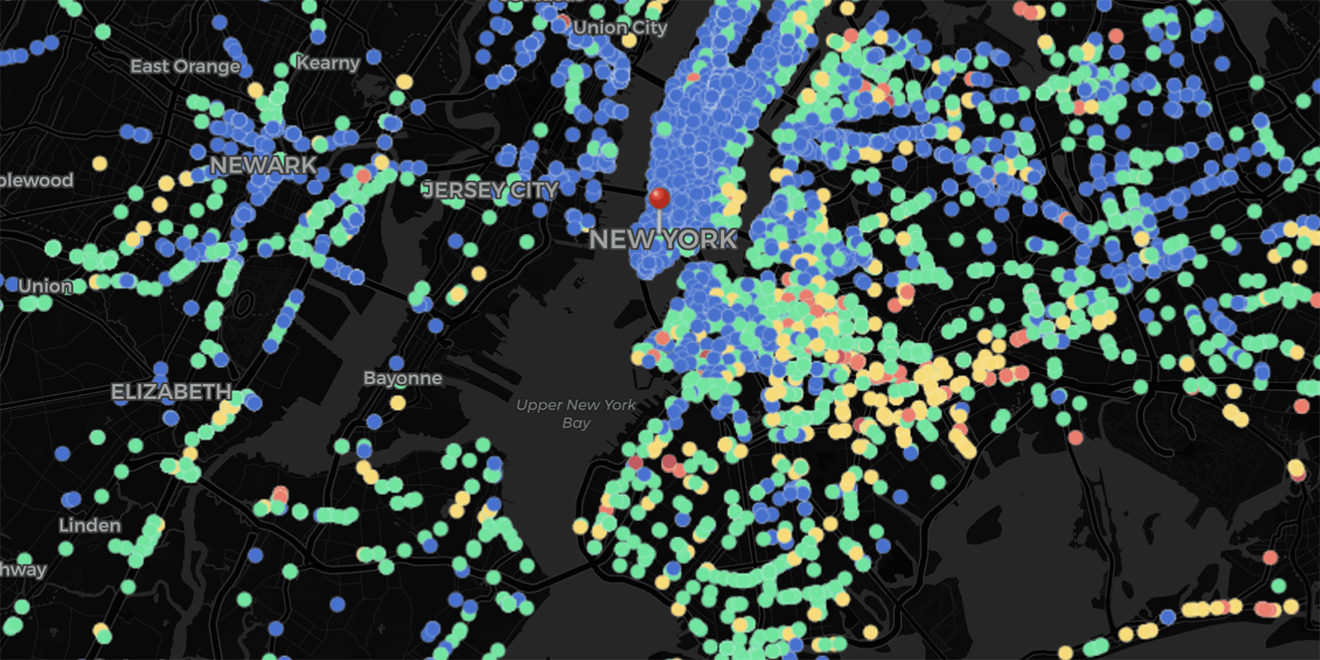 map of New York metro area showing walking and driving activity