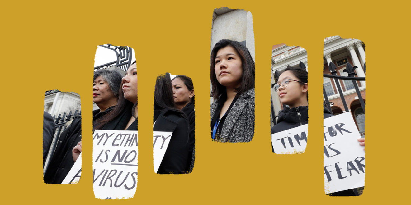 a collaged image of several Asian people protesting coronavirus-related harassment