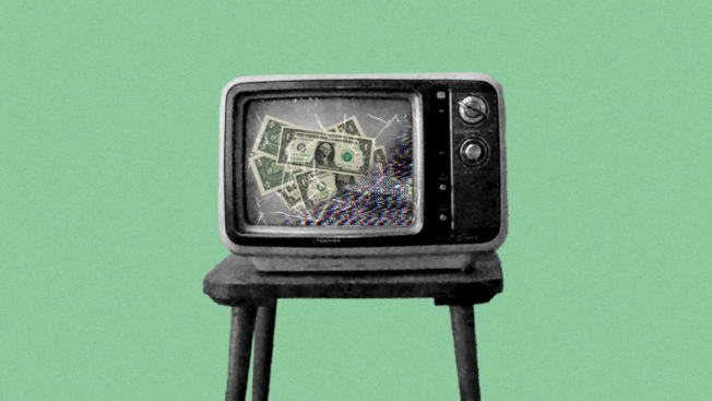 an old tv with dollar bills on the screen on a green background