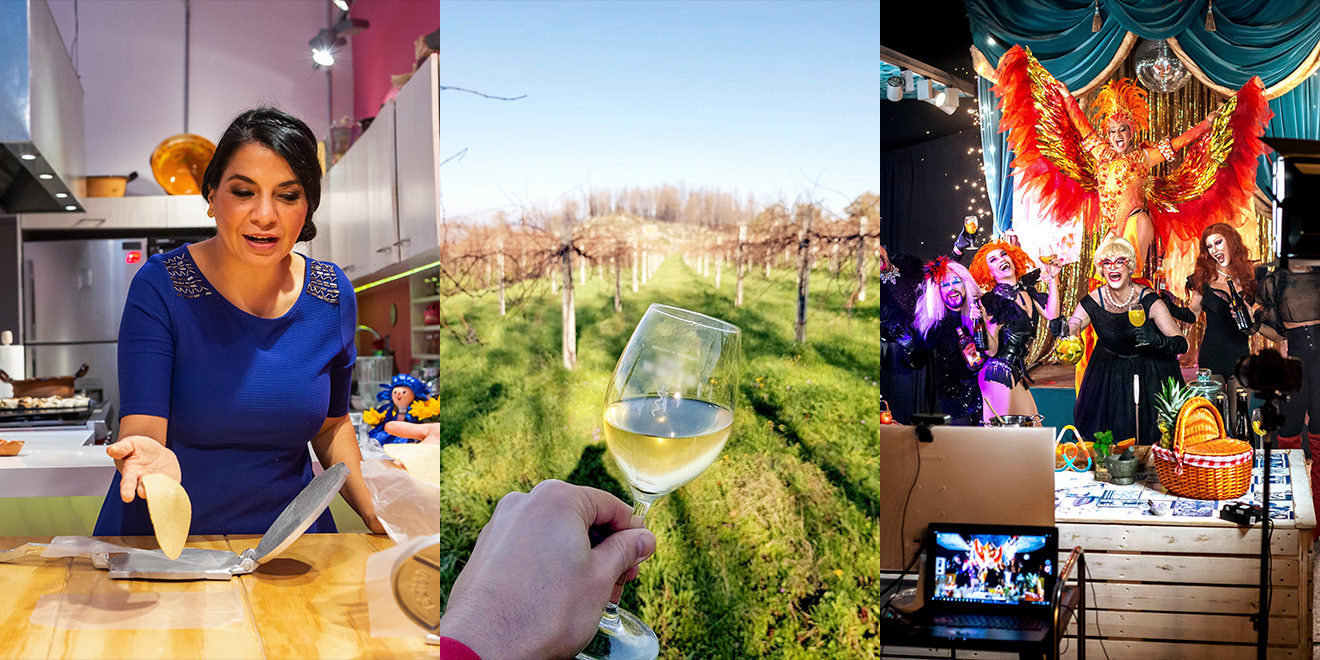 three panels: left is a woman cooking, middle in someone holding a glass of white wine, third is an event with colorful curtains