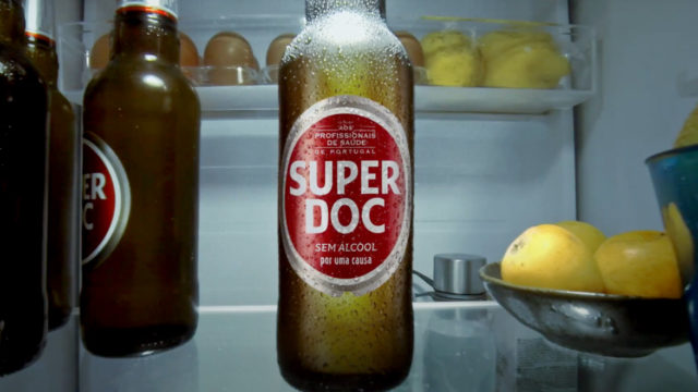 a beer labeled super doc on a countertop