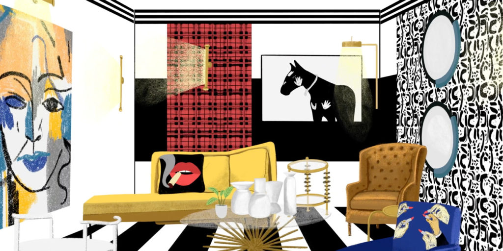 picture of a designed room with a yellow couch and horse on the wall and black and white striped floor