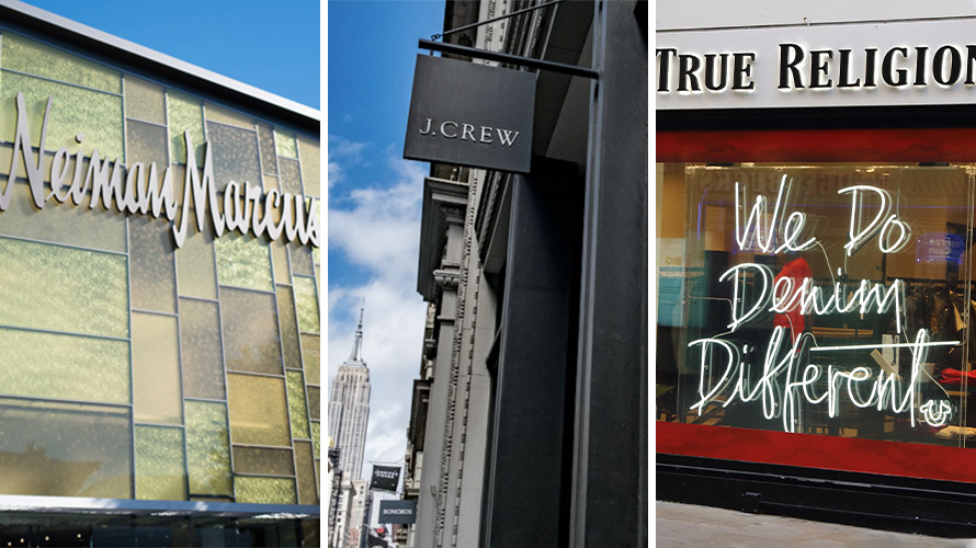 storefronts from neiman marcus, j.crew and true religion