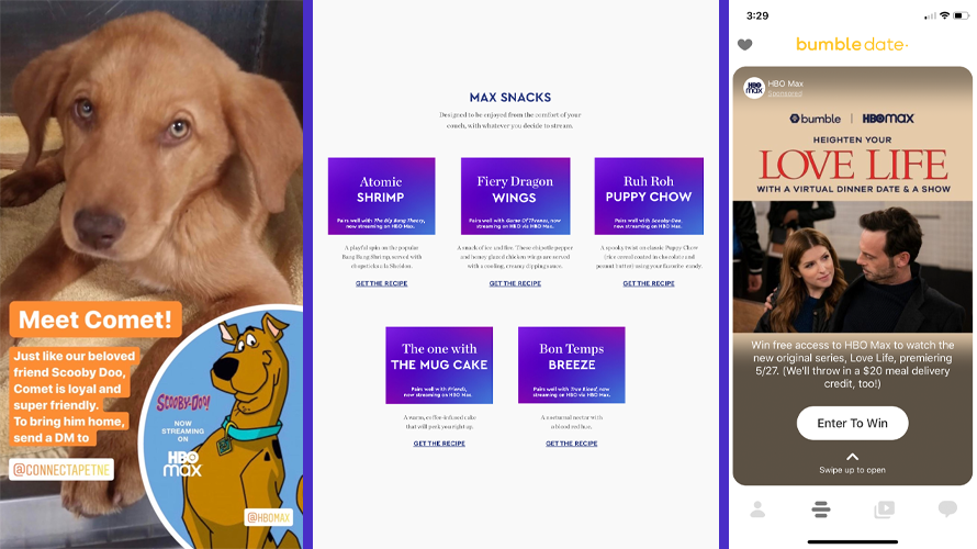 a puppy on the left, center is purple squares, right is a phone