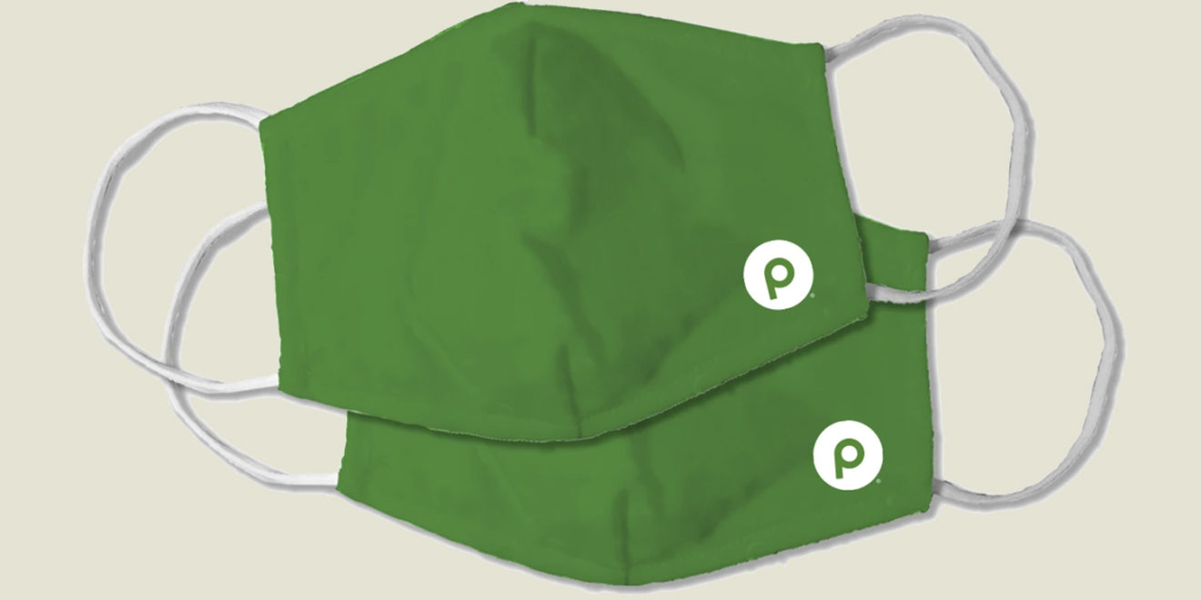 two green masks with a small p in a white circle on the bottom