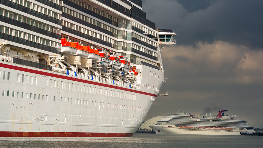 side view of a cruise ship in the water