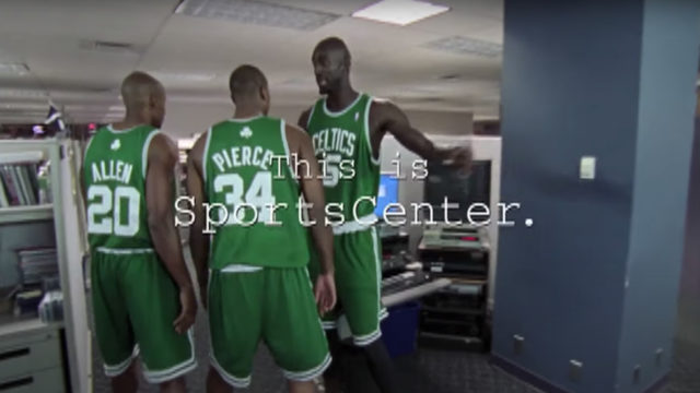 Kevin Garnett, Ray Allen and Paul Pierce in a SportsCenter ad