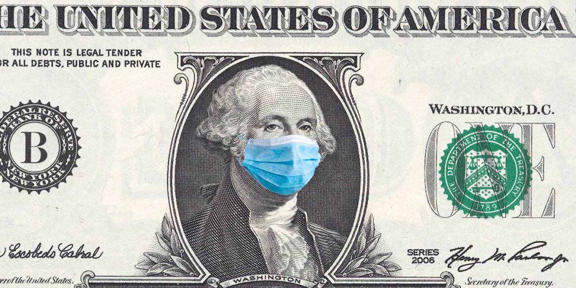 dollar bill with George Washington wearing a face mask