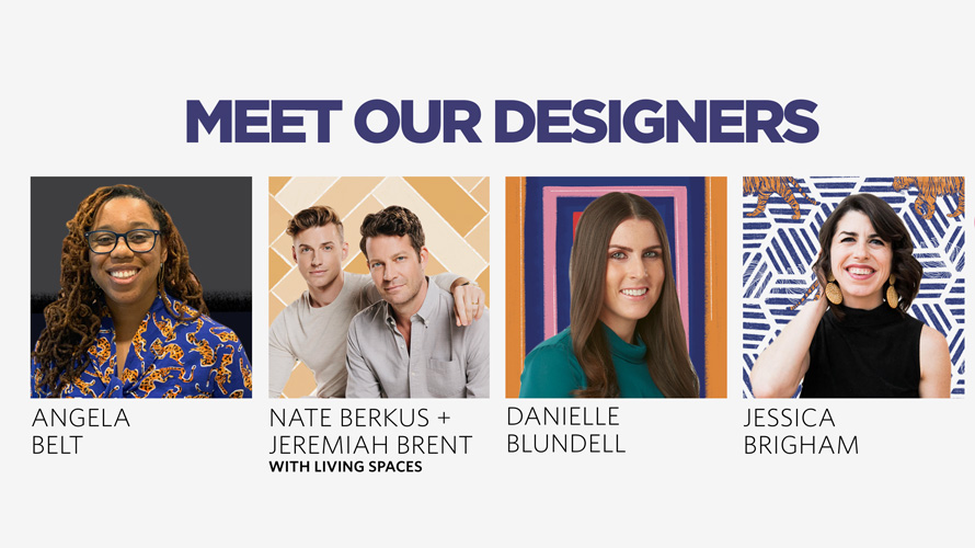 text that says meet our designers with a bunch of headshots