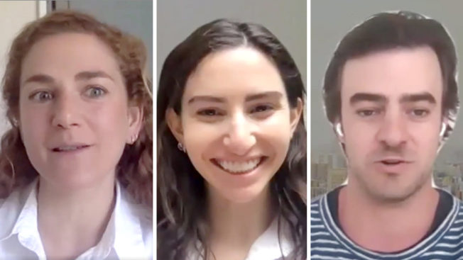 three headshots side by side, two women and a man on the right