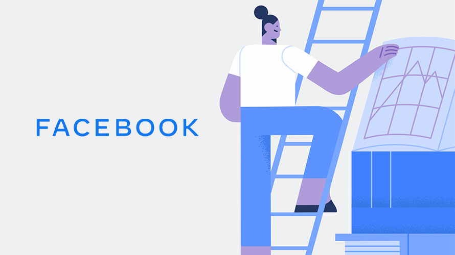 illustration of someone climbing a ladder with the word facebook next to them on the left