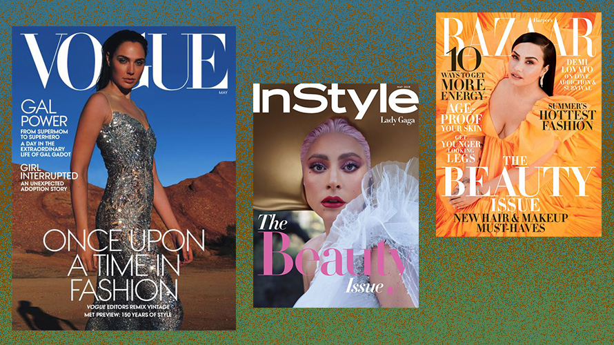 covers of vogue, instyle and harper