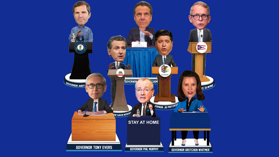 eight bobbleheads of various politicians