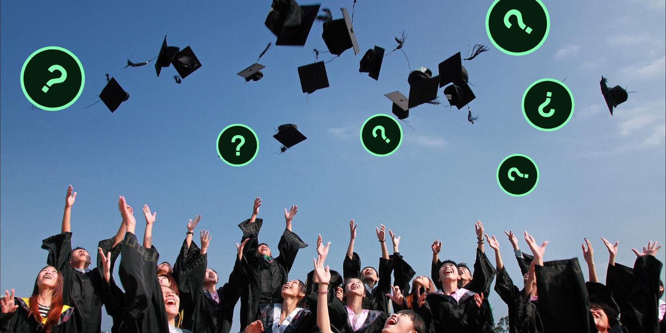 People throwing up graduation caps with question marks in the air as well