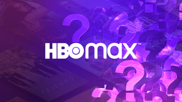 hbo max logo with question marks in the background