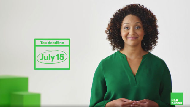 Photo of a woman in a green blouse next to text that says, 'Tax Deadline July 15'