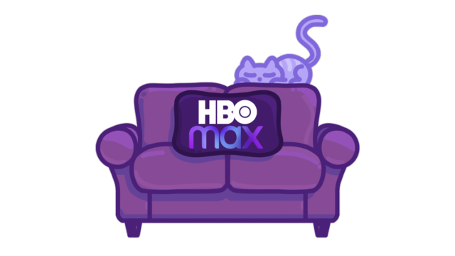 photo of a purple cat on a purple couch that says hbo max