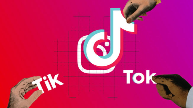 tiktok logo with hands pulling it in difference directions