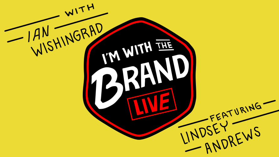 yellow background that says i'm with the brand live