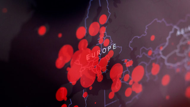 red dots over a map of europe