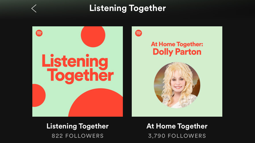 on the left, a square that says listening together and on the right a photo of dolly parton with her name above it