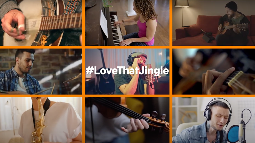 People playing different instruments with the hashtag #LoveThatJingle in the middle