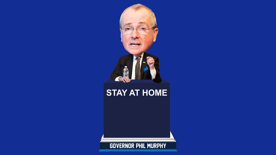 governor murphy at a podium that says stay at home