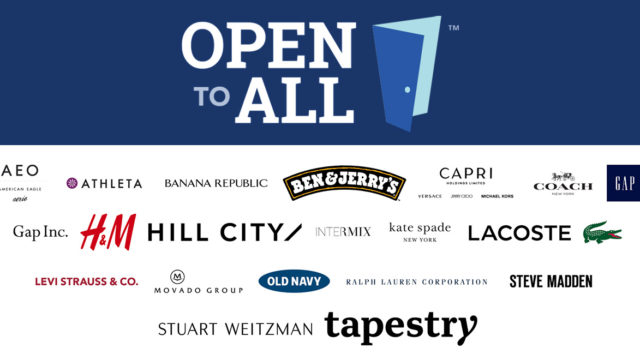 "25 brand logos appear on an ""Open to All"" sticker"