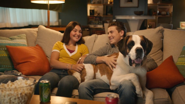 A man and a woman on a couch with a dog on the man's lap