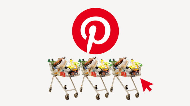Pinterest logo above shopping carts full of groceries