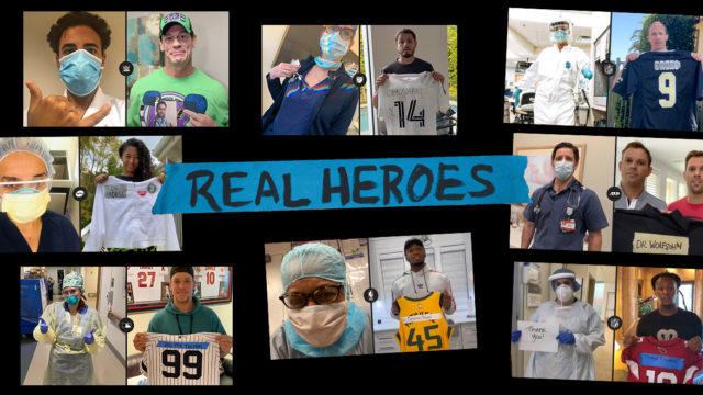 'The Real Heroes Project' athletes holding up jerseys