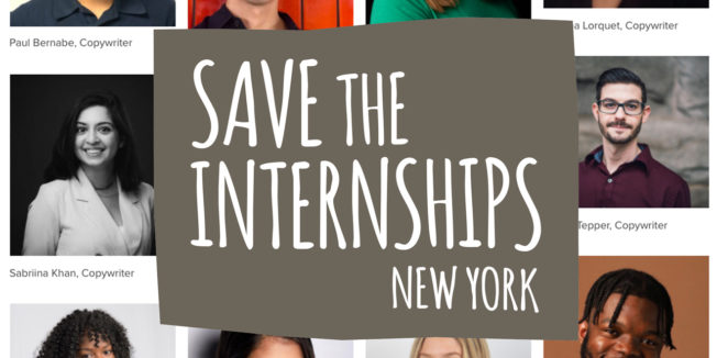 a gray sign that says save the internships new york