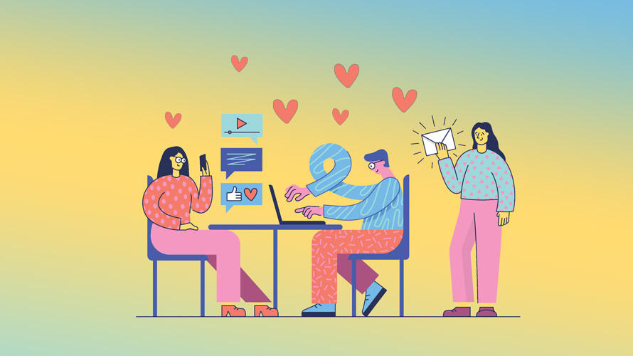three people, two sitting at a desk and one standing, on laptops and phones with hearts floating around them