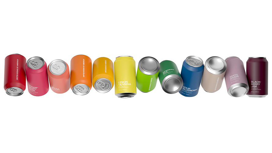 Different colored soda cans
