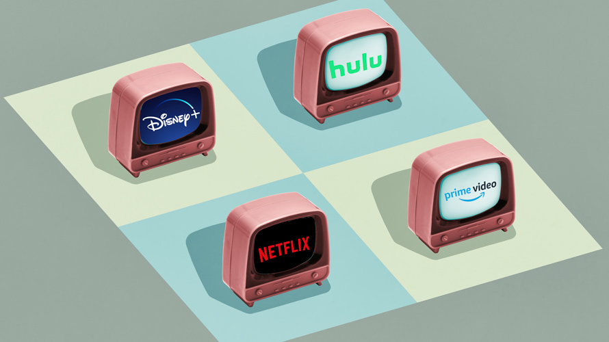 four TVs with Hulu, Netflix, Disney+ and Prime Video logos