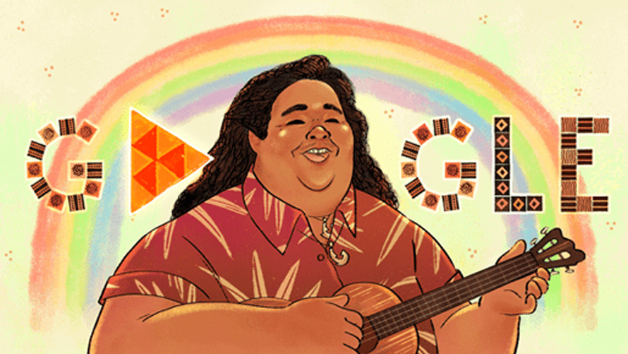 a larger hawaiian man playing a guitar in front of a google logo