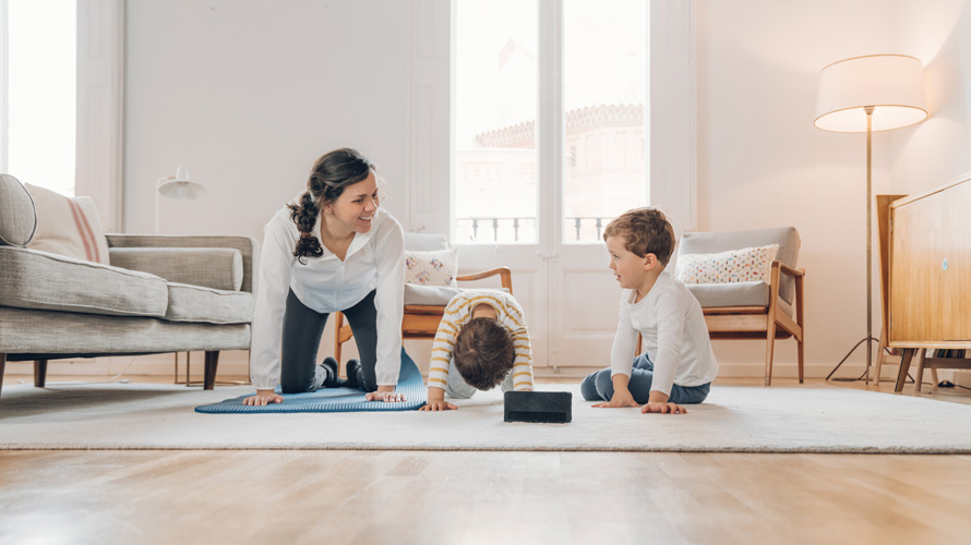 family doing yoga