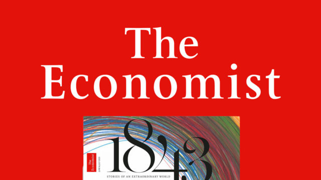 red background that says the economist and has 1843 and the top of a magazine below