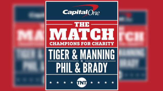 Capital One and TNT logos around text that says, 'The Match: Champions for Charity, Tiger & Manning, Phil & Brady'