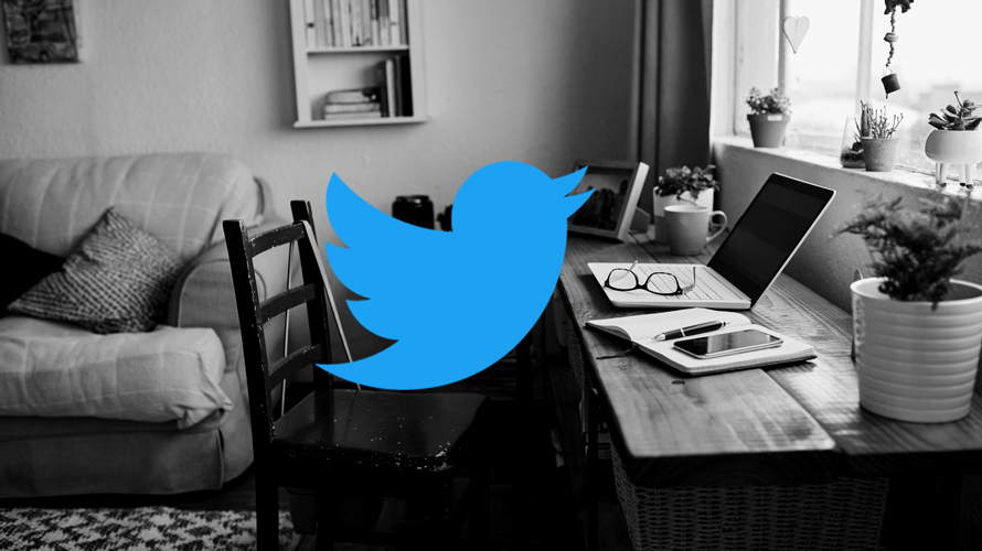 a home office with the Twitter logo overlapping it