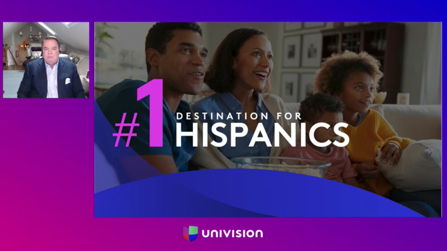 three people sitting with #1 destination for hispanics over their faces and univision at the bottom