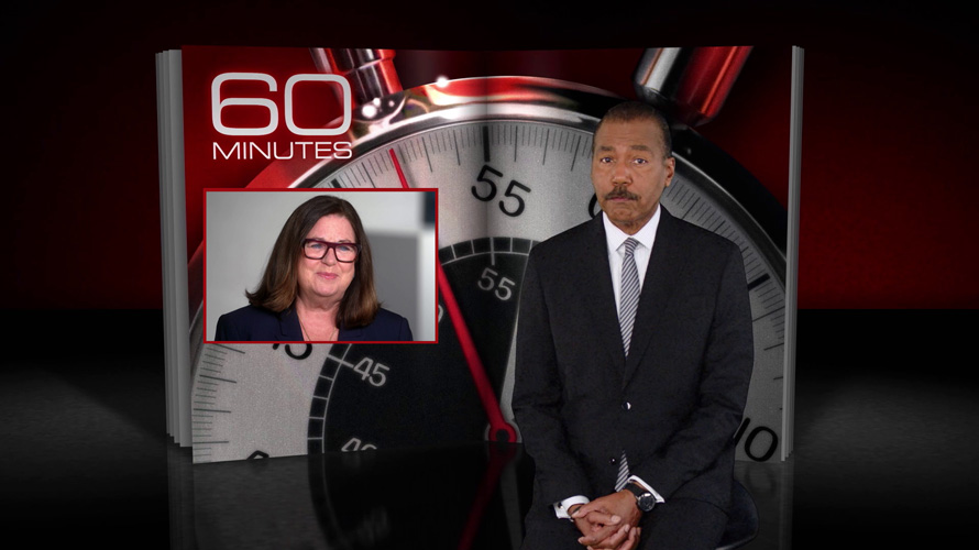 a man standing in front of a ticking clock with 60 minutes on the left and a woman's face below that