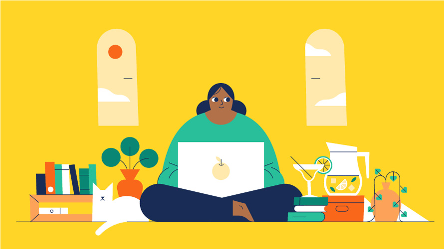 illustration of a woman sitting on a laptop in a yellow room with a plant and tea kettle and martini next to her