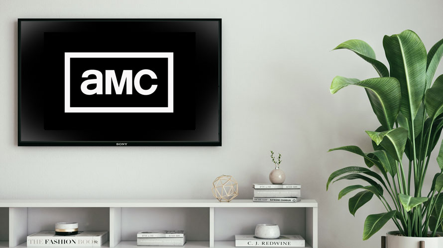 TV on a wall over a shelf and next to a plant