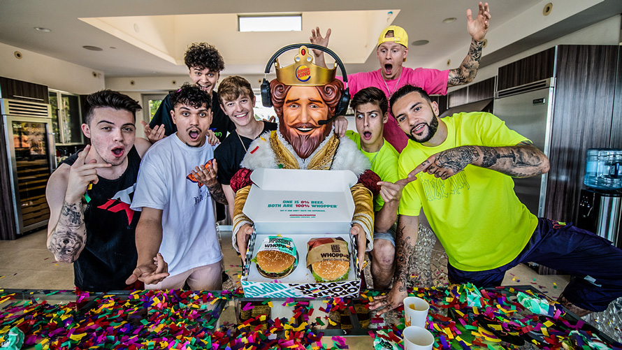 Photo with the FaZe Clan and the Burger King with the Impossible Whopper