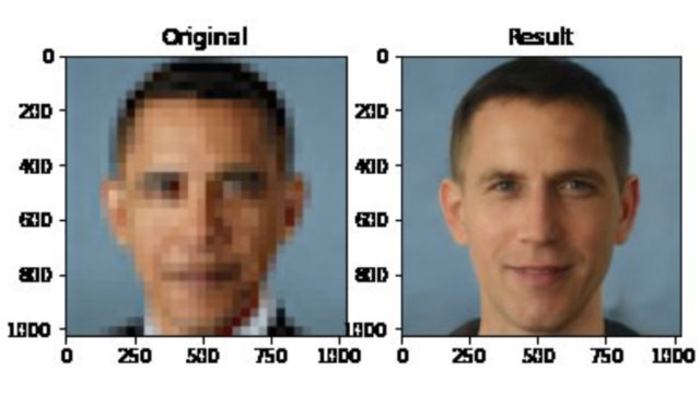 The face depixelation tool being used on Barack Obama's face