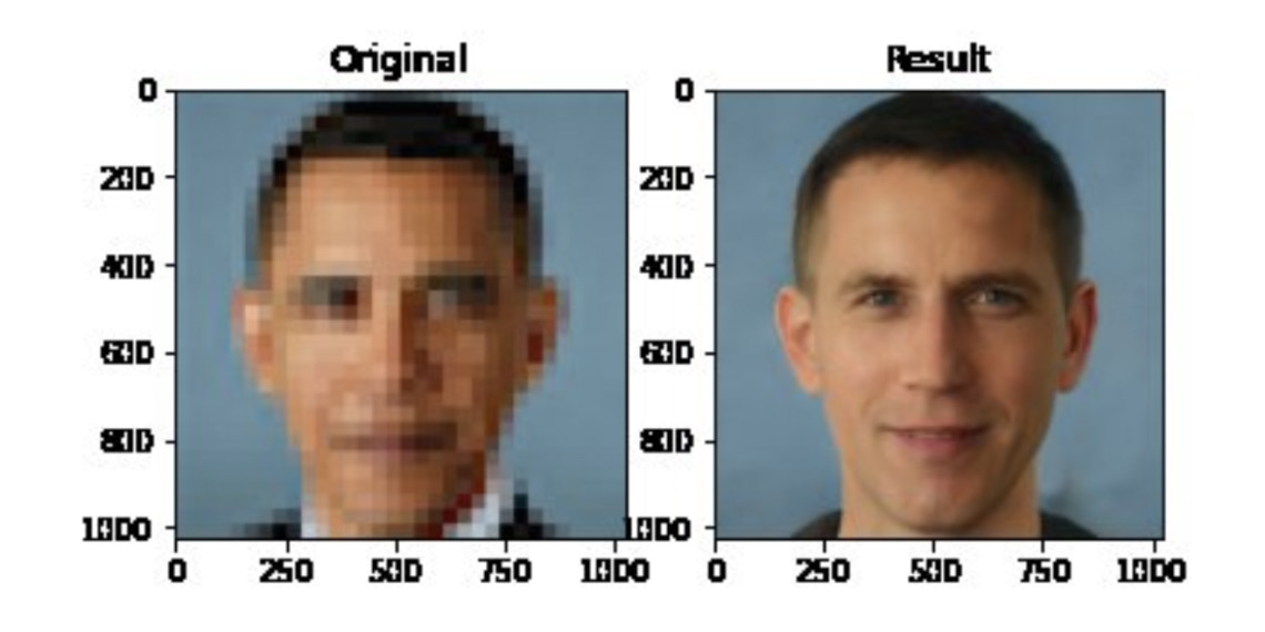The face depixelation tool being used on Barack Obama