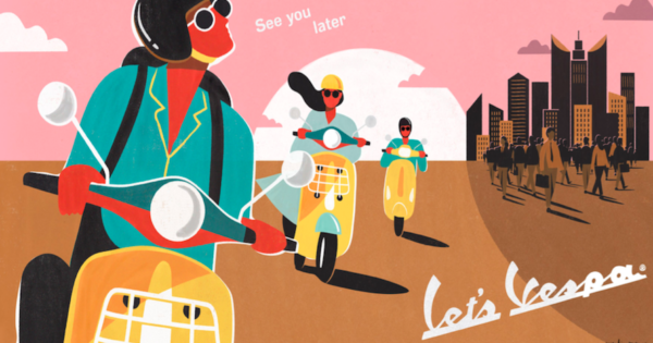 Vespa's Delightful 1950s-Style Posters Welcome Riders Back