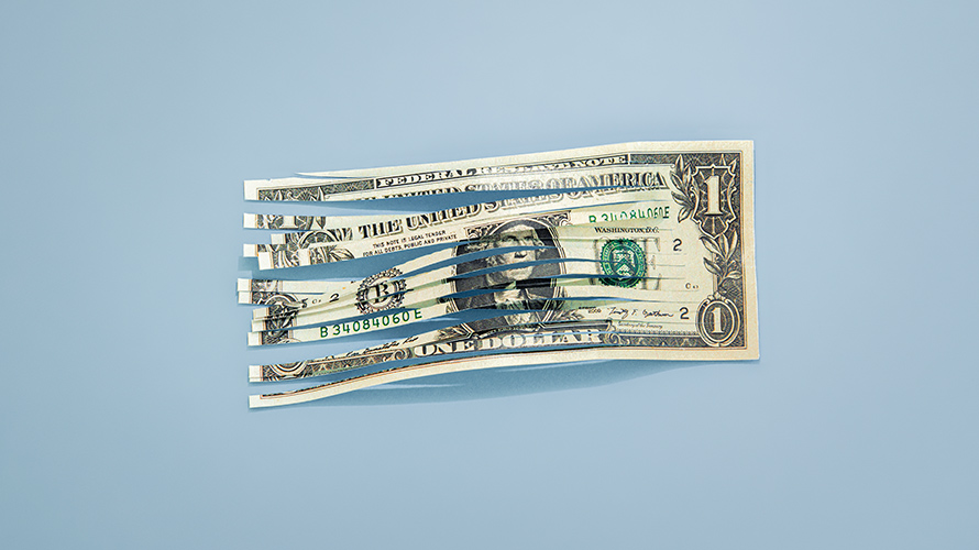 a cut up dollar bill