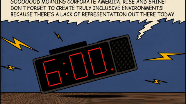 cartoon alarm clock going off with words above